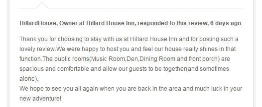 Hillard House Review Response