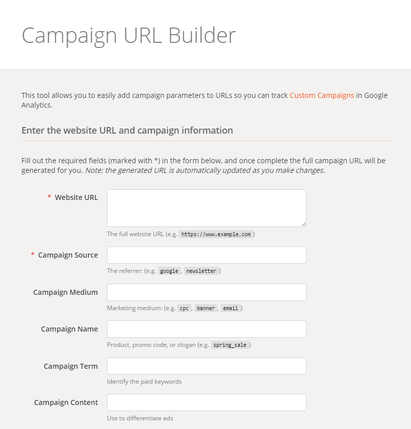 How to build links with UTM Parameters