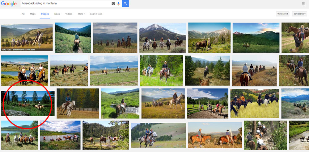 Google Images search results for horseback riding in montana