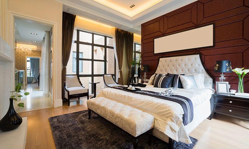 Plush hotel room with bed