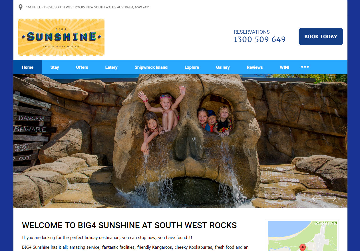 The Big4 Sunshine's hompage shows that their hotel is fun for the whole family.