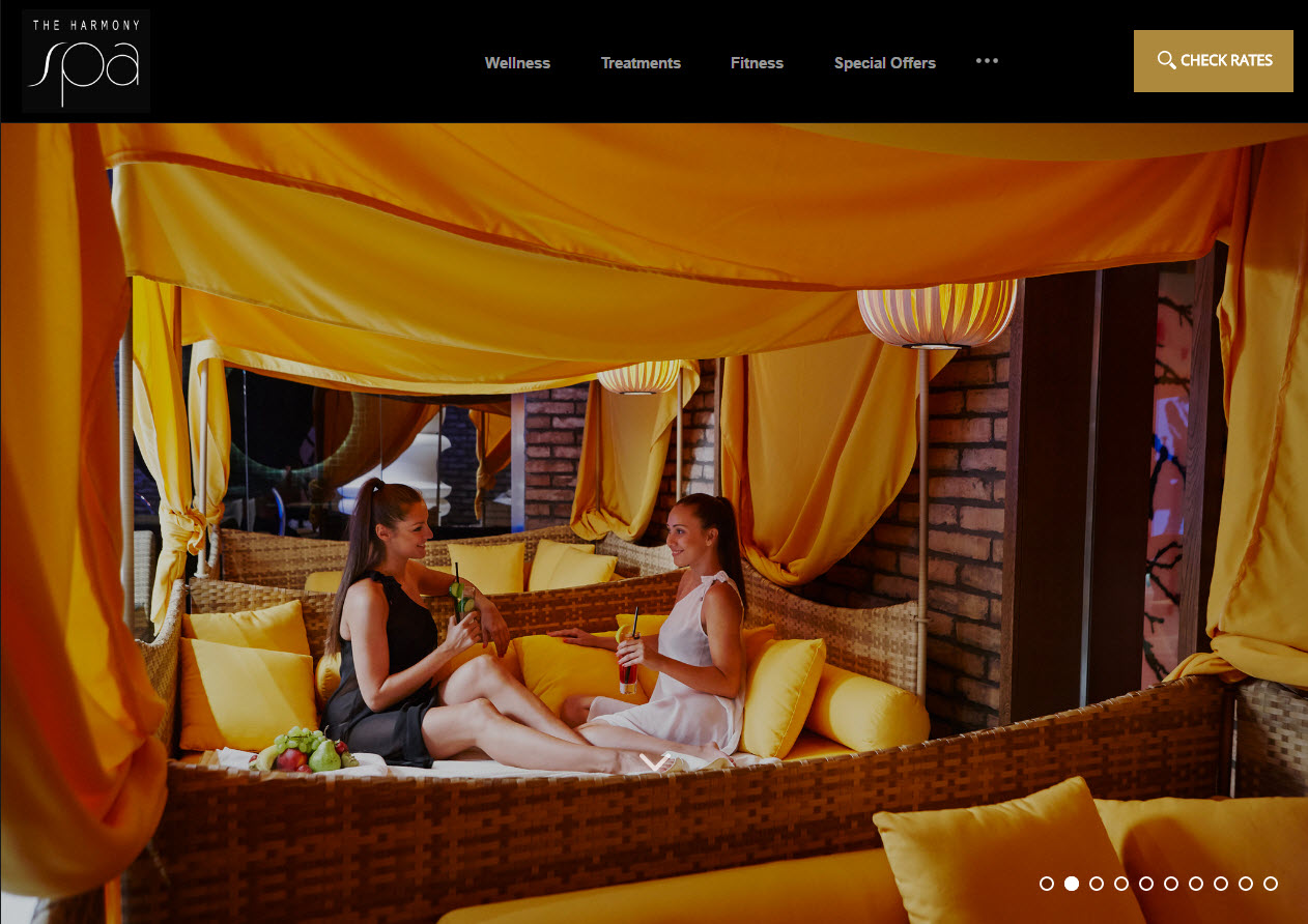 Relaxation is showcased on the Harmony Spa homepage