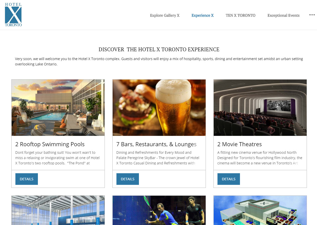 Hotel X website, Experience X page