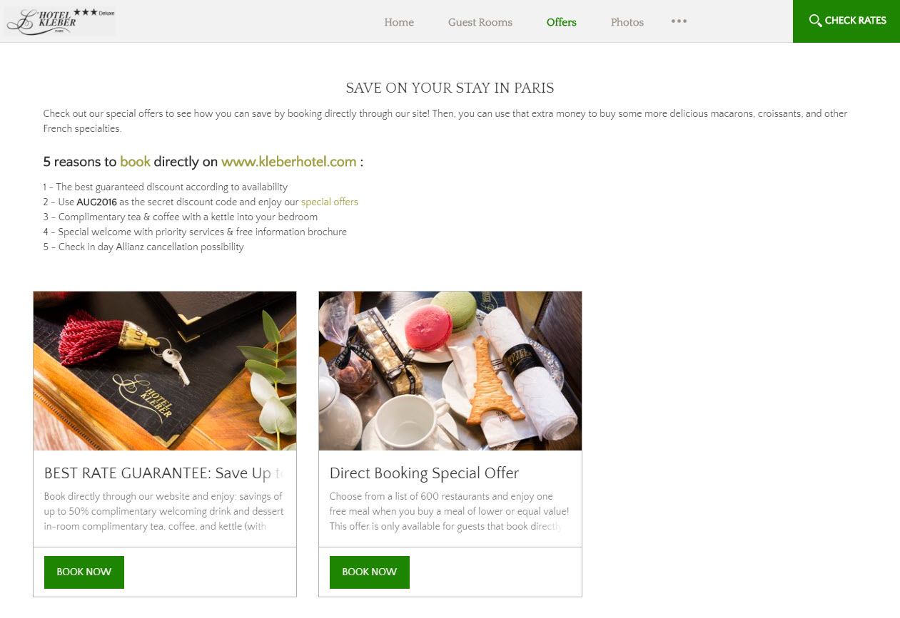 L'Hotel Kleber booking page