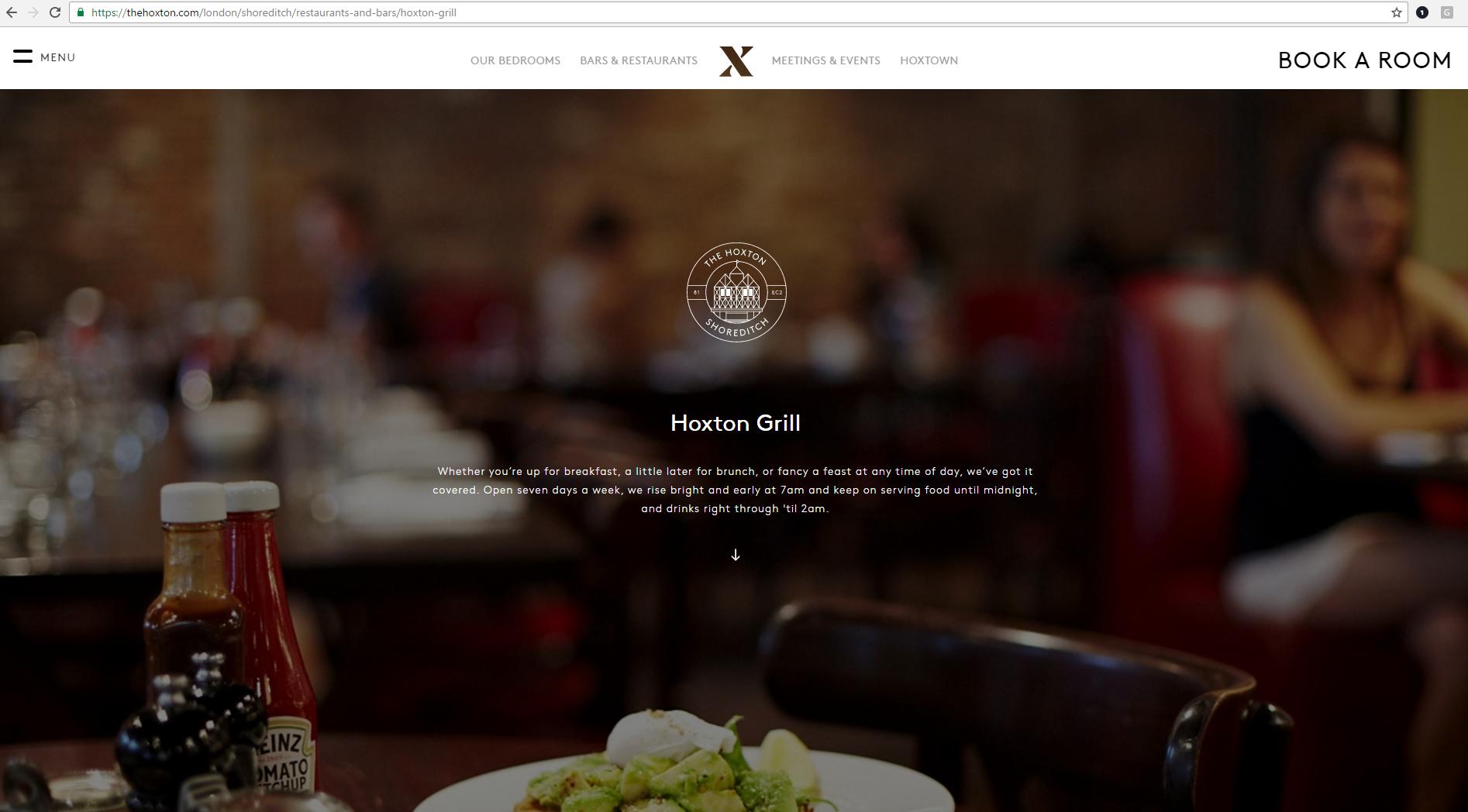 The Hoxton Restaurant Website