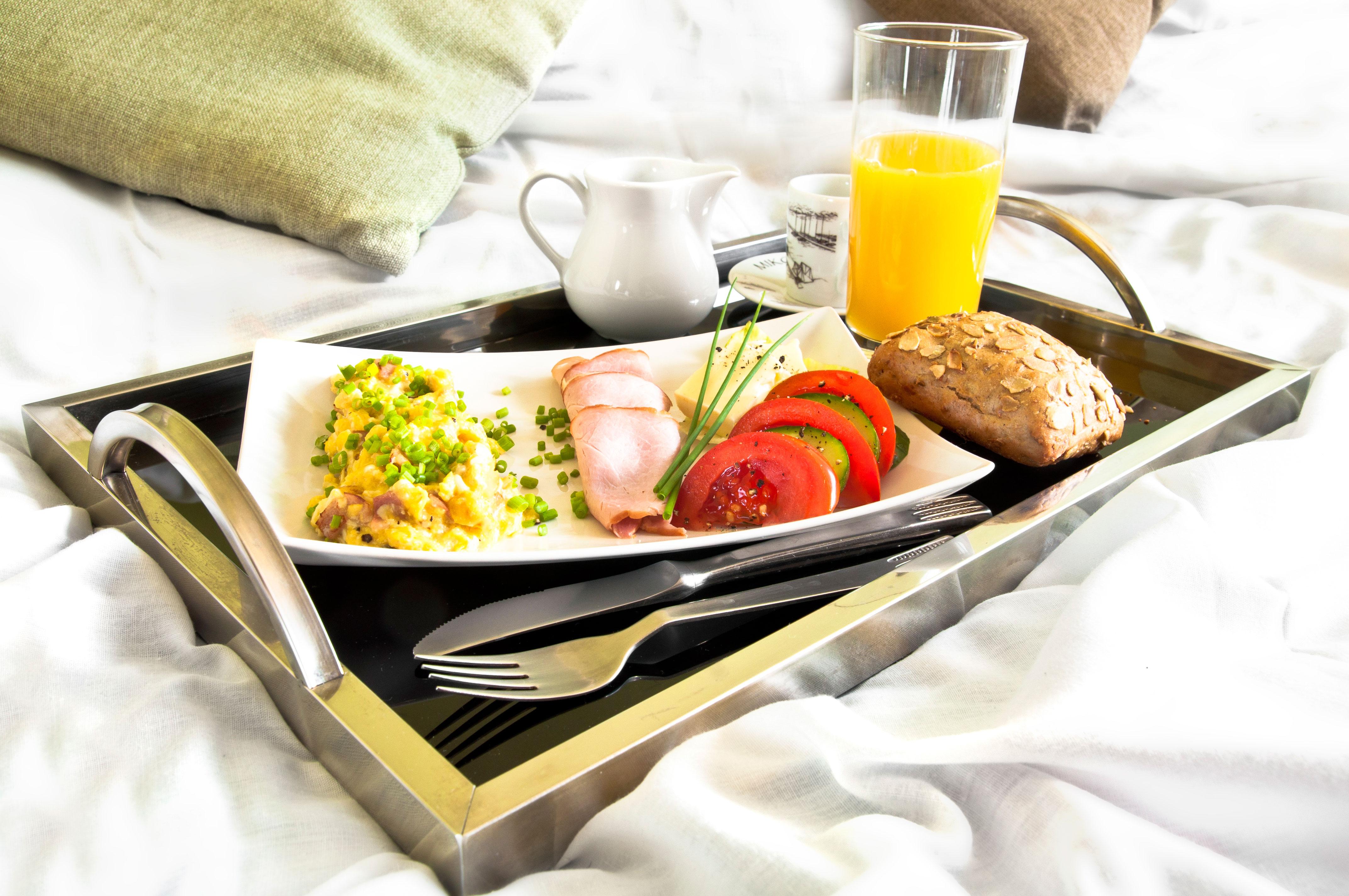 Hotel restaurant, breakfast in bed