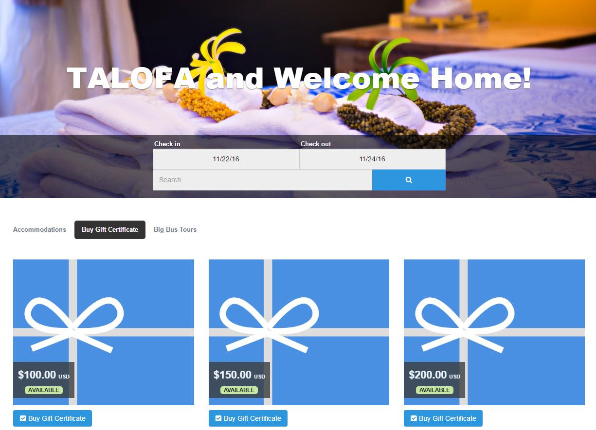 Ancillary Revenue: Malolo B&B Gift Certificates
