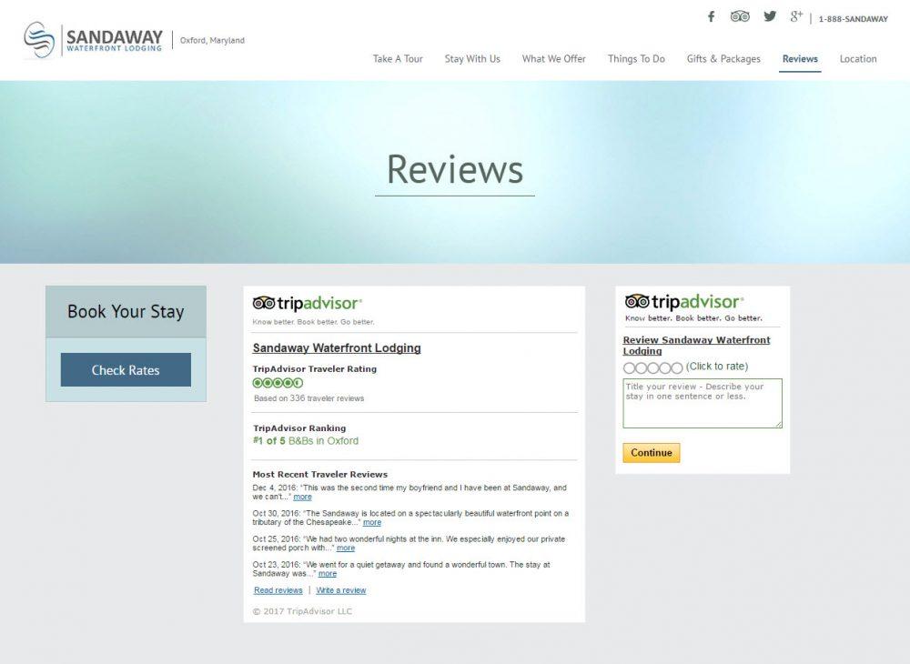 Tripadvisor Widget on Vizlly Website